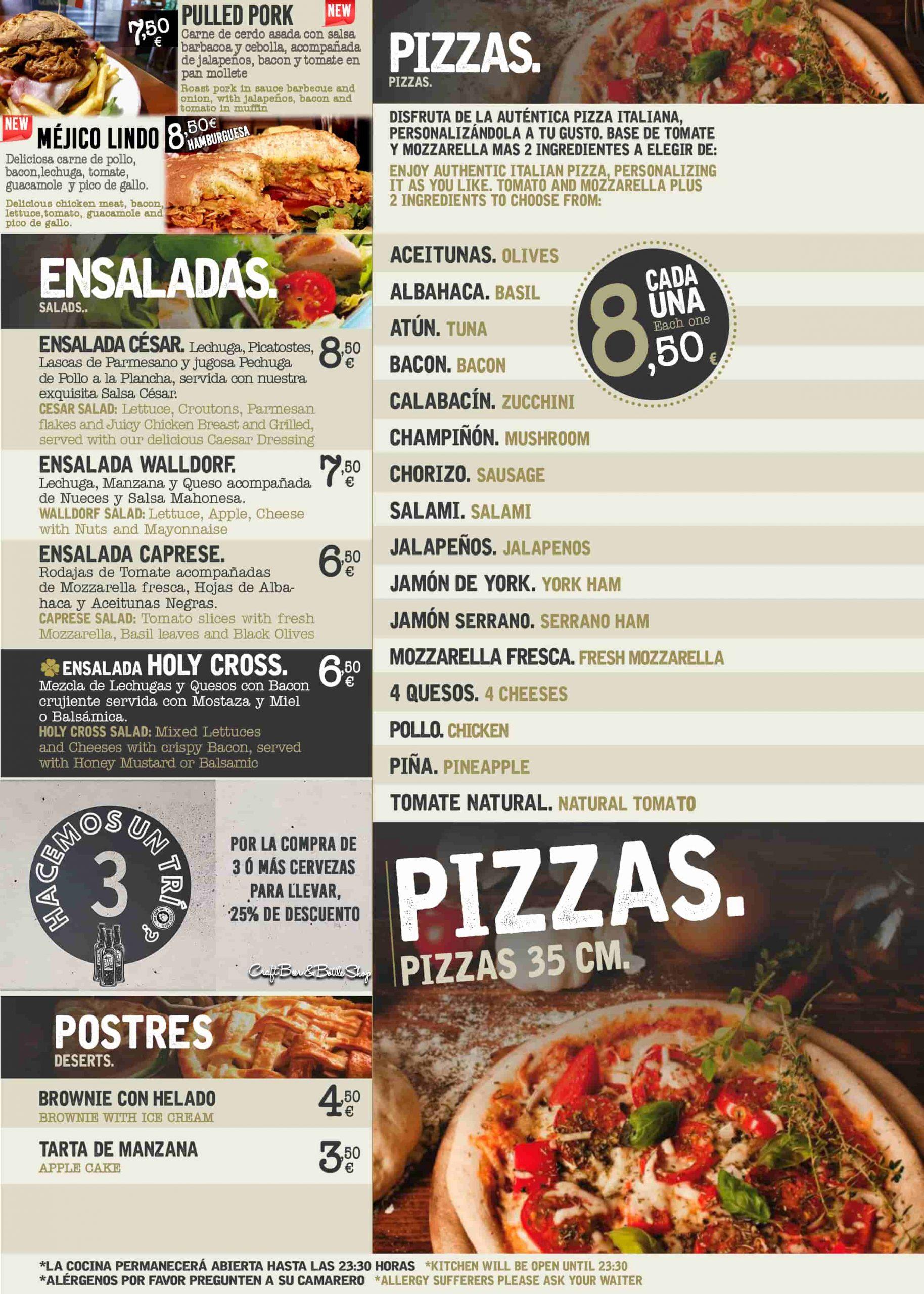Ensaladas, pizzas y postres