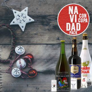 Pack de cervezas navideñas con copas originales